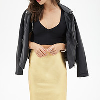 FOREVER 21 Lame Pencil Skirt Gold