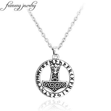 feimeng jewelry Supernatural Thor's Hammer Mjolnir Norse Thor Pendant Punk Viking Necklace Silvery Wicca Pendant For Men