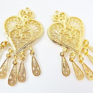 2 Delicate Heart Shaped Exotic Filigree Telkari Chandelier Earring Component Pendants - 22k Gold Plated