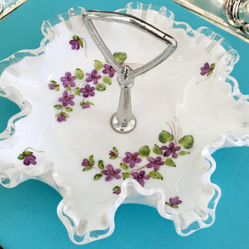 Fenton Milk Glass Violets in the Snow, Candy Dish, Serving, Vintage Glass, Cottage Shabby Chic Decor, Purple, Birthday Gift
