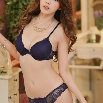 Rhea Lace Bra Set (Navy)