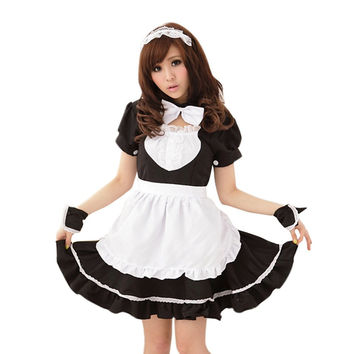 2016 Summer Dress Profession Costumes Bowknot French Maid Costumes  O-Neck Puff Sleeve Flounced Princess Women's Cosplay Costume