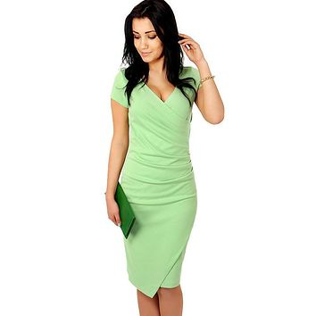 Summer Women Fashion Business Dresses Candy Colors Short Sleeve Deep V-Neck Office Dress Slim Bodycon Midi Dress