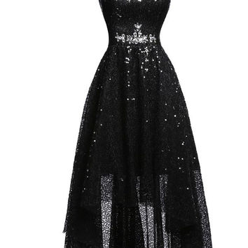 Black Sparkle Crystal Sequined Sleeveless Cocktail Dresses A Line Sweetheart Tulle Prom Homecoming Party Gowns Dresses