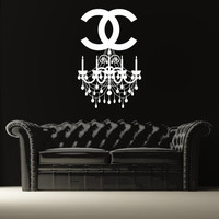 Wall Decal Vinyl Sticker Decals Art Decor Design Chandelier Luster Chanel Light Living room Bedroom Modern Girls Fashion (r1240)