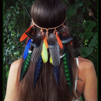 Parrot bay, feather, headband, festival, fantasy, gypsy,  hair, feathers, boho, bohemian, larp, style, colorful, native, american, pixie