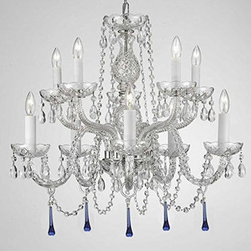 "Murano Venetian Style All Crystal Chandelier Lighting W/ Blue Crystals! H 25"" X W 24"" - 6T-Y932-3H3X"