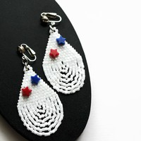 Clip-on Earrings Summer 4th of July Artisan Beaded Earrings