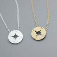 Simple Compass Necklace -  Available color as listed ( Gold, Silver )