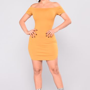 Need Time Off Shoulder Dress - Mustard