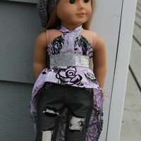 4 piece set! floral high low dress, dark wash ripped skinny jeans,beret style hat, belt, 18 inch doll clothes, American Girl doll clothes