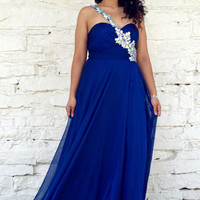 Blue Dresses - Angela and Alison Long Plus Size Prom 21090W One Shoulder