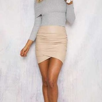 Free To Love Light Grey Long Sleeve Fold Over Off The Shoulder Ribbed Sweater