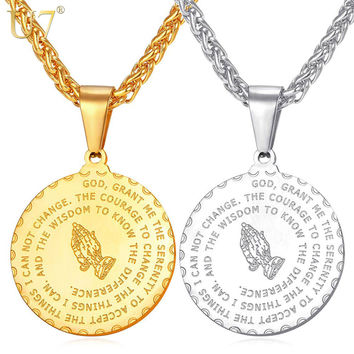 U7 Brand Praying Hands Pendant & Necklace Brother Gift Gold Color 316L Stainless Steel Bible Verse Medal Men Chain Jewelry P102