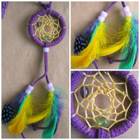 Spring Dreamcatcher, Bohemian charm, Small Native dream catcher, purple suede and bright feathers