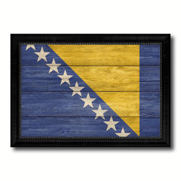 Bosnia Country Flag Texture Canvas Print with Black Picture Frame Home Decor Wall Art Decoration Collection Gift Ideas
