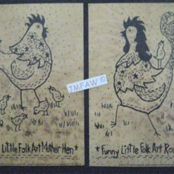 "Primitive Folk Art Prints- ""Funny Little Folk Art Hen & Rooster""-Copyright Lithograph Set of Prints of Original Folk Art Stitchery"