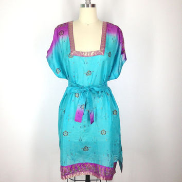 Silk Kaftan Dress / Kimono Dress / Vintage Indian Sari / Tunic Caftan / Swim Beach Cover Up / Aqua Purple Print / Honeymoon Wedding