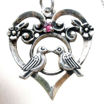 Sterling Silver Love Bird Heart Necklace