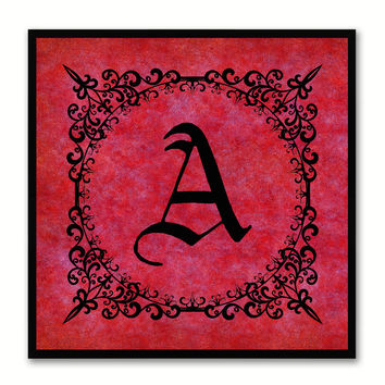 Alphabet A Red Canvas Print Black Frame Kids Bedroom Wall Décor Home Art