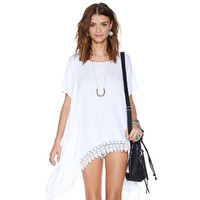SIMPLE - Women Fashionable Lace White Loose Round Necked T-Shirt a10926
