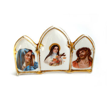 Vintage French Limoges Porcelain Religious Standing Plaques ,Porcelain Religious icon,Christmas gift