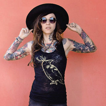 burnout tanktop, raven tank, gogo blackwater, bohemian, crow black tank, womens crow tank, 1AEON women's burnout black tank, S-XL