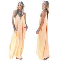V-Neck Strappy Chiffon Maxi Dress