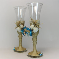Rustic Style Wedding Glasses, Seashells Decorated, Rustic Wedding, Beach Wedding, Toasting Flutes, Champagne Glasses, Wine Glasses
