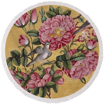 Exotic Camellias - Round Beach Towel 220