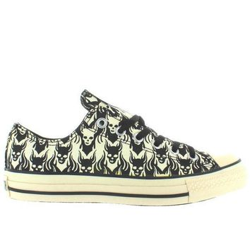 ESBONIG Converse All-Star Chuck Taylor Print Ox - Black/Parchment Skull Low-Top Sneaker