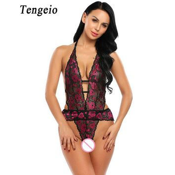 Tengeio Women Sexy Lace Catsuit Bodysuit Front Cut-Out Halter Floral Backless Leotard Nightwear Jumpsuit Romper Body Femme 1120