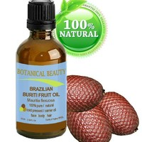 """Brazilian BURITI FRUIT OIL 100% Pure / Natural / Cold Pressed Carrier Oil / Undiluted. For Face, Body, Hair, Lip and Nail Care. """"One the richest natural sources of vitamin A, E and C."""" From the Amazon Rainforest. (0.33 fl.oz-10ml.)"""