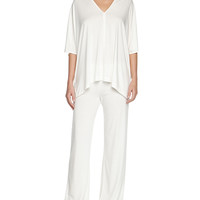 Shangri La Two-Piece Tunic Pajama Set, Ivory, Size: