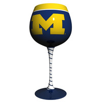 Michigan Wolverines NCAA Artisan Wine Glass
