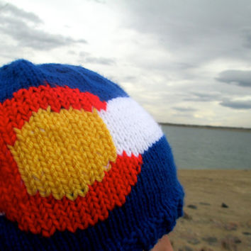 Colorado flag hat - adult size, hand knit