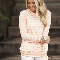 Striped and Hooded Top Peach