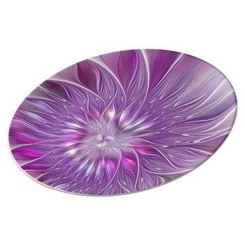 Pink Flower Passion Abstract Fractal Art Plate