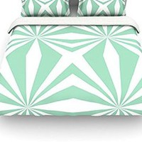 """Kess InHouse Project M """"Starburts Mint"""" Twin Cotton Duvet Cover, 68 by 88-Inch"""