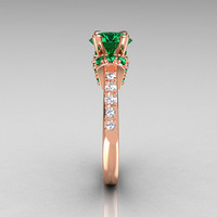 Modern Armenian Classic 14K Rose Gold 1.5 Carat Emerald Diamond Solitaire Wedding Ring R137-14RGDEM