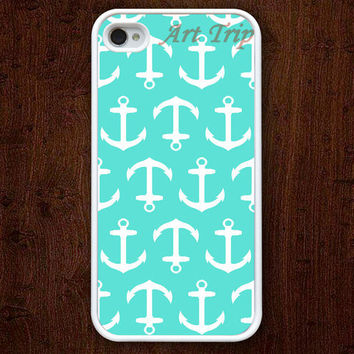 iPhone 4 Case, iphone 4s case --Anchor iphone case, Nautical Anchor iphone 4 case, mint green iphone 4 case, iphone case