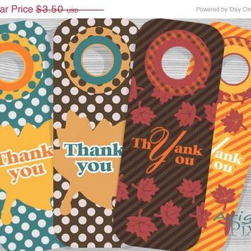 WEEKEND SALE 50% OFF Thank you printable wine bottle gift tag, Thanksgiving printables, fall leaves, polka dots, stripes, autumn colors, par