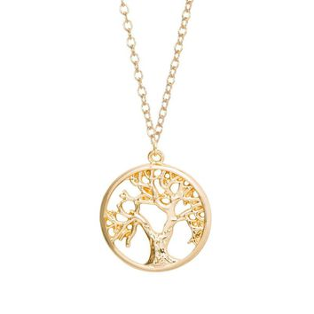 Tree of Life Pendant Necklace Cute Tiny Tree in Circle Necklaces
