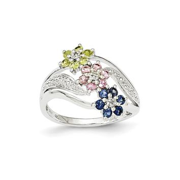 14k White Gold Floral Blue/pink/yellow Sapphire & Diamond Ring