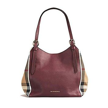 Tote Bag Handbag Authentic Burberry Small Canter in Leather and House Mahogany Red Color Made in Italy