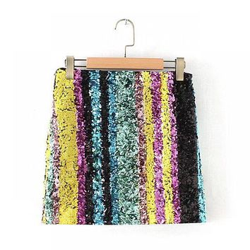 2019 Spring New Fashion Sparkling Sequin Mini Skirt European Style Skirts Womens All-match Slim Sexy Micro Skirts Free Shipping