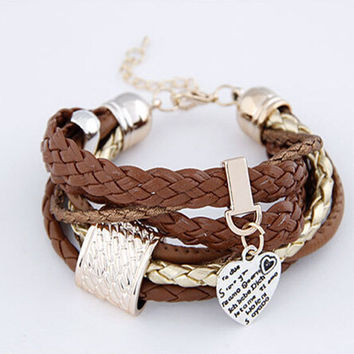 LASPERAL PU Leather Twist Weave Wrap Bracelets Love Heart Pendant Friendship BFF Bracelets For Women Girls Lady Rope chain 20cm