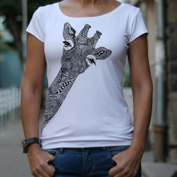 Т-shirt, Giraffe, Hand drawn stylized giraffe, Designer t-shirt, Women's t-shirt, Funny t shirt, Drawing, Print Top