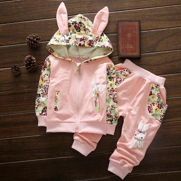 2 Pcs Floral Bunny Ears Hoodie and Pants Outfit Set - Multiple Colors Available!