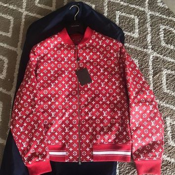 ICIKIN2 Brand New Rare Louis Vuitton LV Supreme X Red Leather Bomber Jacket size 56
